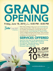Belle Sante Med Spa Grand Opening Poster